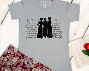 Pride and Prejudice shirt, Jane Austen t-shirt, Book incipit, book lovers, reading literature