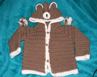 Brown baby bear hoodie