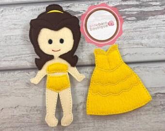 Felt paper doll, pretend play, Doll and dress, princess paper doll, felt doll