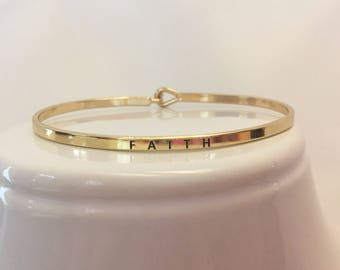 FAITH Mantra Bangle/Bracelet - in Gold and Silver