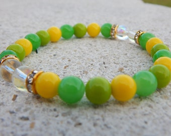 Green and Yellow Glass | Clear Glass | Bead Bracelet