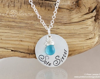 Sole Sister Necklace - Hand Stamped Running Jewelry - Running Necklace - Marathon Jewelry - 26.2, 13.1, 5k, 3.1 by Pink Lemon Design