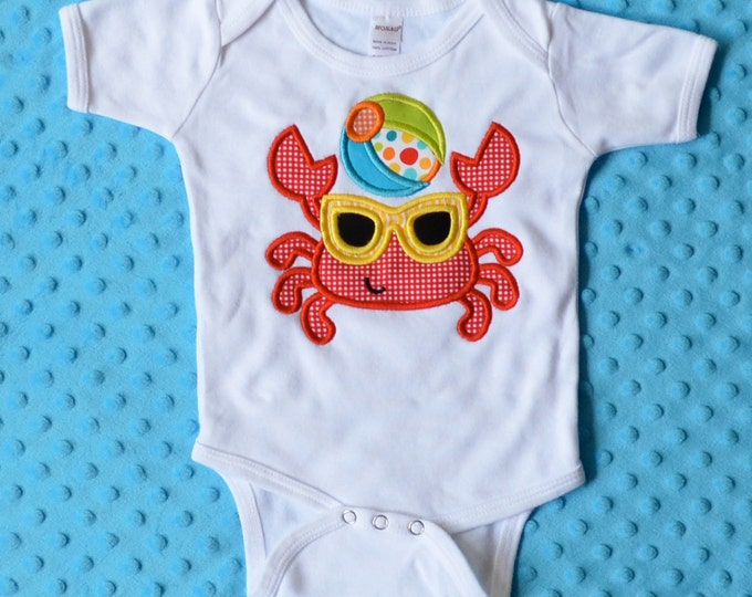 Featured listing image: Personalized Crab with Beach Ball and Shades Applique Shirt or Onesie Boy or Girl