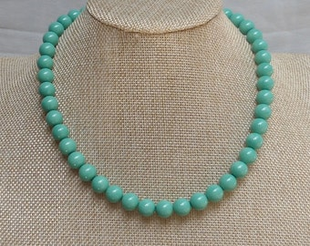 Turquoise  Necklace,Glass pearl necklace,One Strands Pearl Necklace,Wedding Jewelry,18 Inches Necklace,Pearl Necklace,Bridesmaid necklace