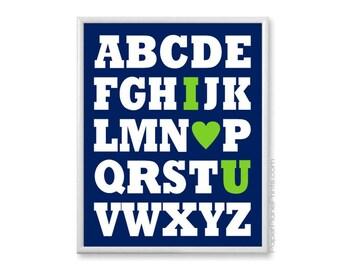 Navy and Lime Green Nursery, Alphabet I Love You Nursery Art Print, ABC Wall Art Kids Room, Alphabet Print Nursery Decor, Baby Boy, 8x10