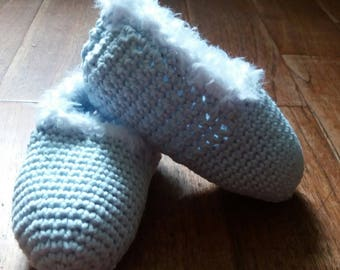 Slippers children size 24-25 (2/3 years) light blue, Natural, handmade crochet cotton