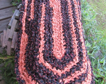 Crocheted Black & Orange Rag Rug CP72