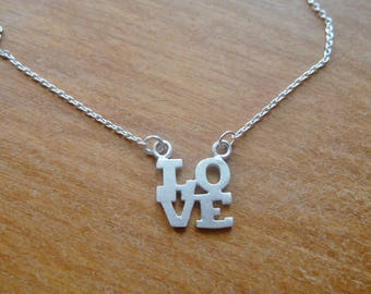 Sterling Silver LOVE Charm Necklace on chain