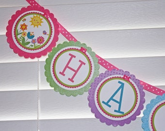 GARDEN Birthday Banner / Flower Birthday Banner / Spring Banner / Garden Banner / Garden Birthday Party / Spring Birthday Party / Flower