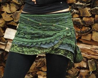 Yara Skirt (Green) - Festival Clothing Gypsy Bohemian Skirt Hippie Lace Crochet Midi Knee Goa Ethnic Nomadic Boho