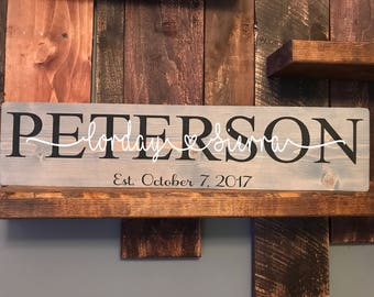 Personalized couples sign/ wedding sign/ couples names/ housewarming gift/ wedding gift/ anniversary sign