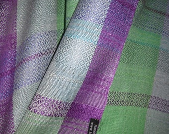 Handwoven Silk Shawl Wrap,  Purple Green and Blue, Accessories Woven by Tisserande