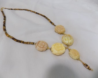 Carved Calcite Medallions and Tiger Eye Chiclet Necklace