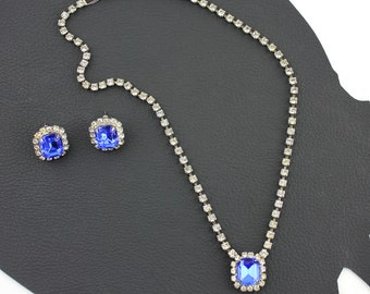 Something Blue Rhinestone Vintage Necklace & Earring Set