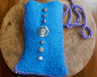 Hand Knit Turquoise Purple and White Felt Shoulder Bag - Albuquerque Turquoise