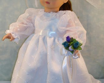 18 Inch Doll Clothes - Embroidered Organza Wedding Gown, Veil and Bouquet handmade by Jane Ellen