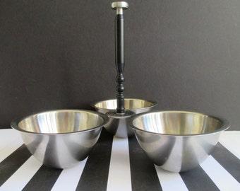 TidBit Bowls * ONEIDA CUSTOM  * Three Bowl Server * Japan Stainless * Retro Kitchen