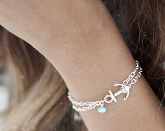 Anchor Bracelet, Turquoise Anchor Bracelet, Nautical Jewelry, Sorority Bracelet, Nautical Anklet, Anchor Anklet, Delta Gamma Jewelry,