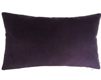 Purple Velvet Suede Decorative Throw Pillow Cover / Pillow Case / Cushion Cover / 12x18""