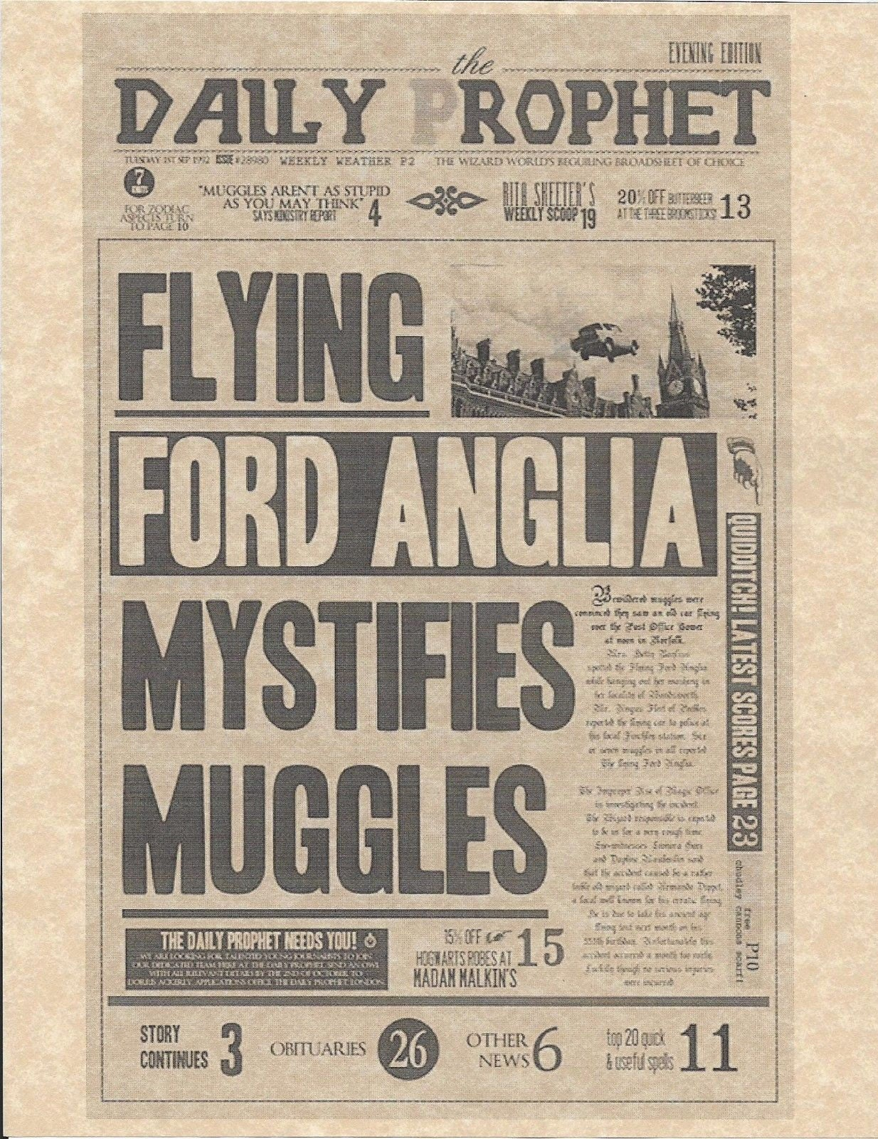Harry potter daily prophet flying ford anglia flyerposter zoom 1betcityfo Images