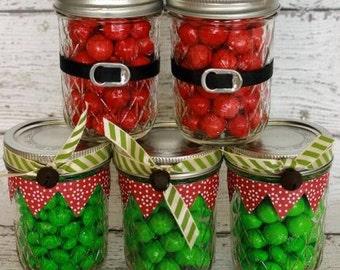 Santa and Elf M&MS in a jar