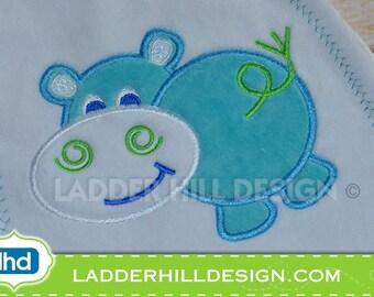Hippo Applique Machine Embroidery Design No.  AA001
