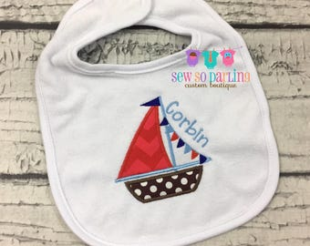 Personalized Baby Boy Bib - Nautical Baby Bib - monogrammed bib - baby gift - baby boy sailboat bib - baby boy gift - personalized baby bib