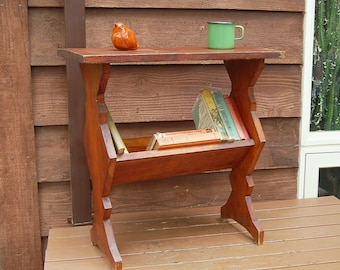 Wooden Book Shelf Table, Vintage Side Table, Lower Level Book Rack, Book Stand, Side Table Book Holder, Plant Stand