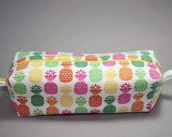 Boxy Makeup Bag - Bright Stamped Pineapple Print Zipper - Pencil Pouch