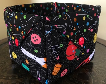 Quilted fabric sewing/craft basket