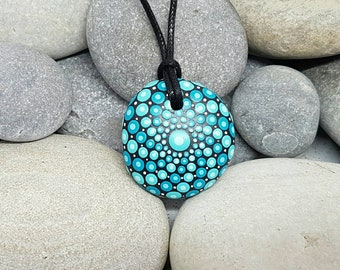 Teal Mandala Stone Necklace - Painted Jewelry Rock - Mandala Rock - Dot Art - Mandala Art - Hand-painted Necklace - Chakra - Healing