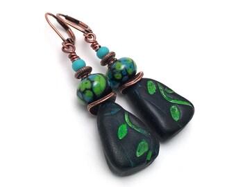 Turquoise and Green Leaves Earrings - Handmade Artisan Earrings - Black Lampwork Glass Earrings - Polymer Clay Leaf Earrings - SRAJD 3955