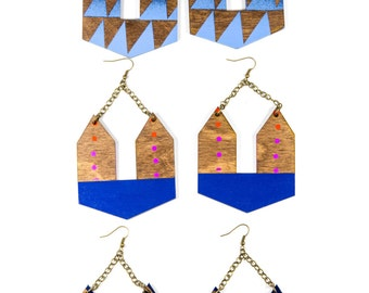 Pandia Earrings/ Doorknocker Earrings/ Large Dangle Earrings/ Lasercut Geometric Wood Shape/ Painted Gradient/ Color Fade