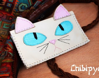 Handmade leather tobacco pouch white cat