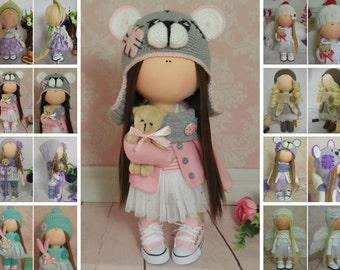 Tilda doll Textile doll Handmade doll Fabric doll Grey doll Soft doll Cloth doll Rag doll Interior doll Baby doll Nursery doll by Maria M