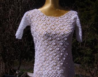 Summer sweater, short-sleeved, white, Gr. 36-38 (S-m)