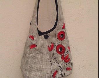 Shoulder bag poppy, feminine, romantic, red grey spring