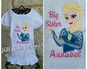 """Girl's appliquéd and embroidered """"Elsa Big Sister"""" ruffled shirt with embroidered name"""