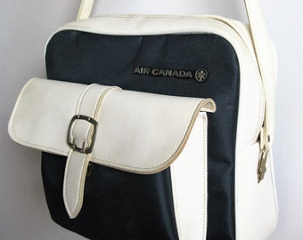 Vintage 1970s Travel Carry-On Bag 70s Air Canada Blue White Luggage Handbag Case
