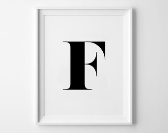 F Letter Print, Alphabet Prints, Capital Letter, Typography Wall Art, Black and White, Scandinavian House, Minimalist Style