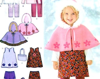 Simplicity 4809, Sizes 1/2 to 4 Yr, Jumper, Pants, Capelet, Bag, Knit Top and Leggings, UNCUT