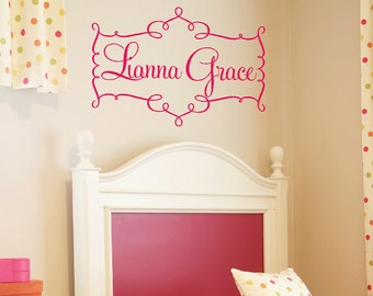 Nursery Name Wall Decal - Swirl Frame with Girly Fun Personalized Name Vinyl Wall Transfer - 22h X 32w FN0103