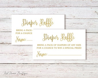 Baby Shower Diaper Raffle Tickets, Gold Baby Shower, Instant Download, Digital File, #BS01-Gold