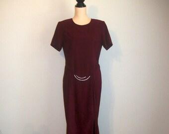 Short Sleeve Minimalist Dress Maxi Hipster 80s Dress Work Office Maroon Burgundy Medium Dress Large 1980s Womens Clothing Vintage Clothing