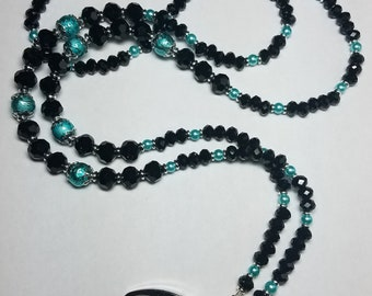 Beaded handmade badge lanyard necklace black and turquoise colors