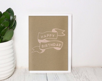 Illustration Birthday Card - Screen Printed Cream - Hand Made