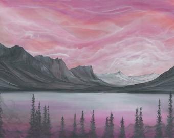 Original Acrylic Painting, Glacier National Park Landscape, St. Mary Lake, Montana Art, 36x24 inches
