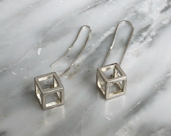 Sterling silver cube threader earrings, 3D designed cubes, cube, threader earrings, minimal, geometric, contemporary, multi-hole earrings