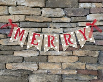 merry banner merry burlap banner christmas banner christmas garland merry garland christmas decor christmas burlap banner photo prop