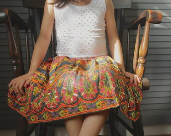 Girls skirt, Black embroidered skirt with pink and green